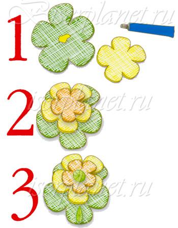 Схема к броши Цветок из фетра